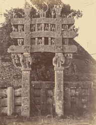 Front view of the North Gateway of the Great Stupa before restoration, Sanchi, Bhopal State